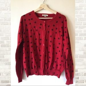 Red cardigan with black hearts ❤️❤️❤️